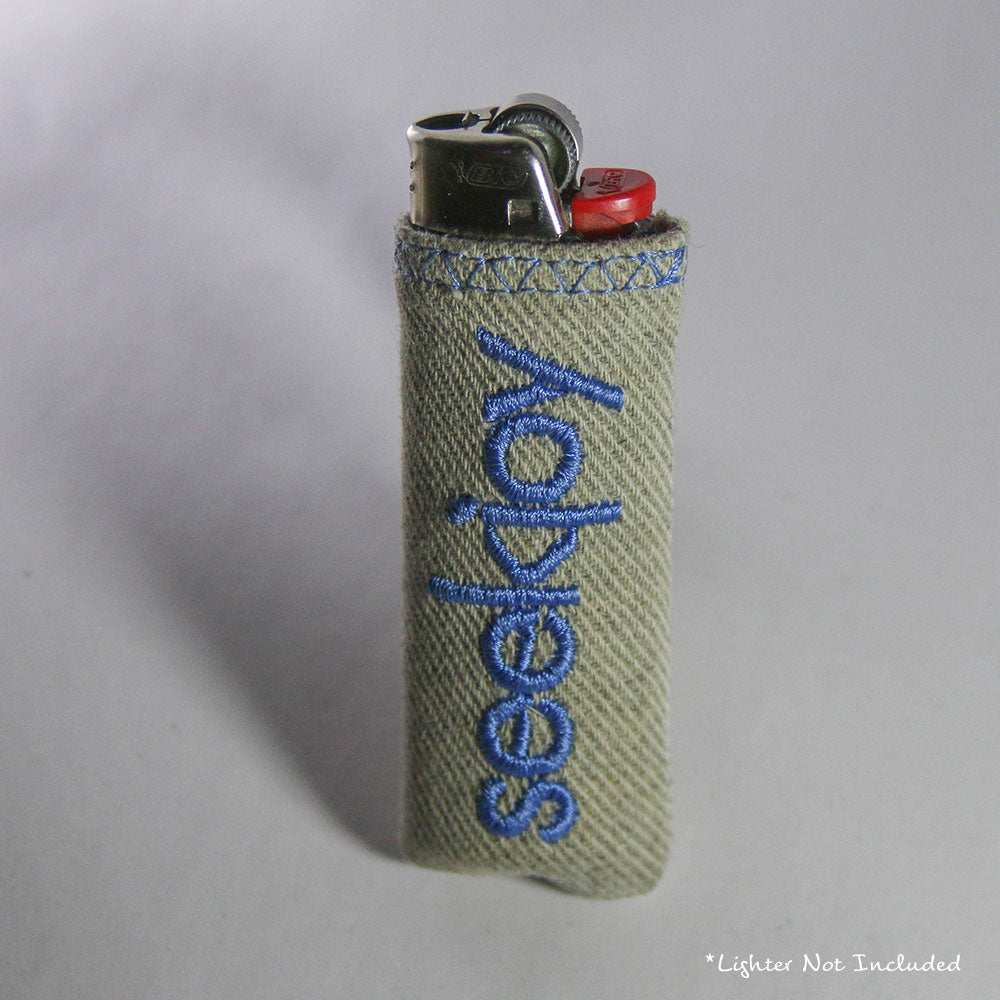 Upcycled Lighter Sleeve - Light Blue on White
