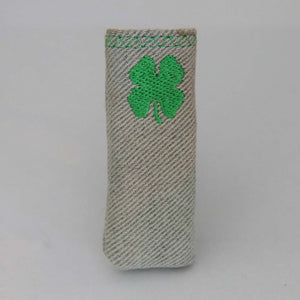 Upcycled Lighter Sleeve - Shamrock - Green on White Denim