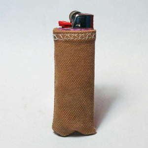 Upcycled Lighter Sleeve - White on Tan Duck