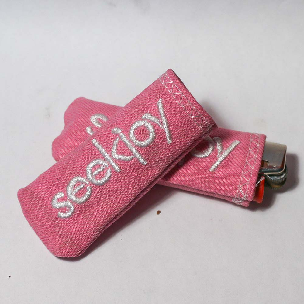 Upcycled Lighter Sleeve - White on Pink Denim