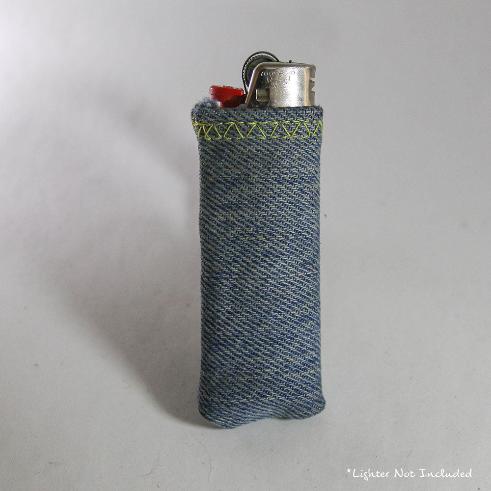 Upcycled Lighter Sleeve - Yellow on Light Blue