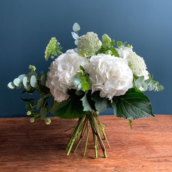 White Hydrangea and Dill Hand Tied Bouquet | Highgate Flowers