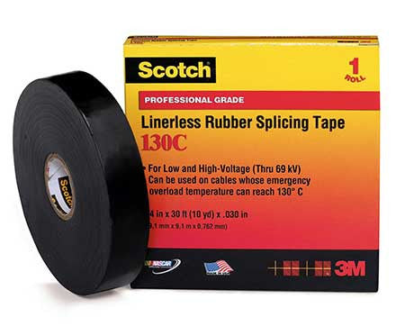 Scotch® 130C Professional Grade Linerless Rubber Splicing Tape, 30 mil, 3/4 in x 30 ft, up to 69 kV