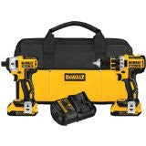 Dewalt DCK281D2 20V MAX* XR Lithium Ion Brushless Compact Drill / Driver and Impact Driver Combo Kit