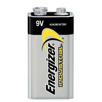 Energizer EN22 Battery, Industrial, Alkaline, 500 mAh, 9V, Snap Contact