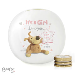Personalised Boofle It's a Girl Money Box