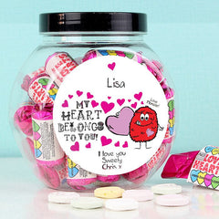 Personalised Love Hearts Sweet Jar
