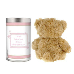 Pink or Blue ABC Teddy in a Tin