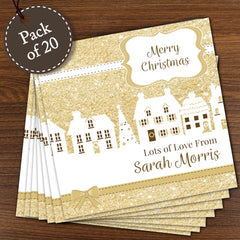 Festive Village Pack of 20 Personalised Cards