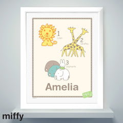 Personalised Miffy at the Zoo Name Frame