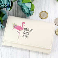 Flamingo Cream Leather Purse
