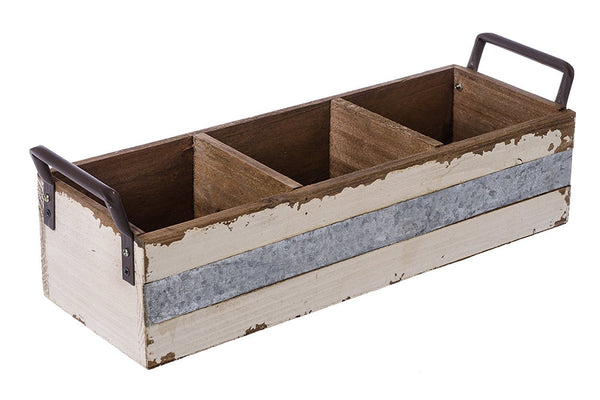 Rustic Wood and Metal Decorative Shabby Chic Carry-All Caddy