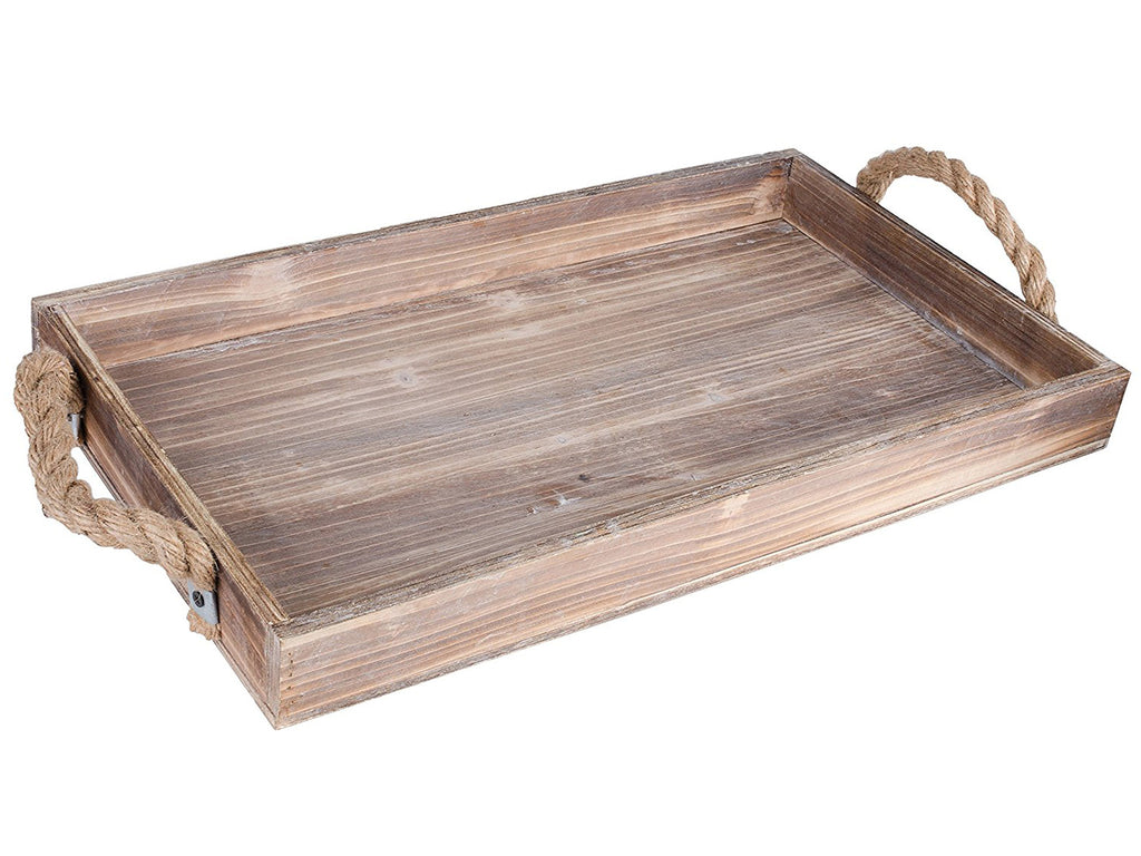Rustic Wood Serving Tray with Rope Handles