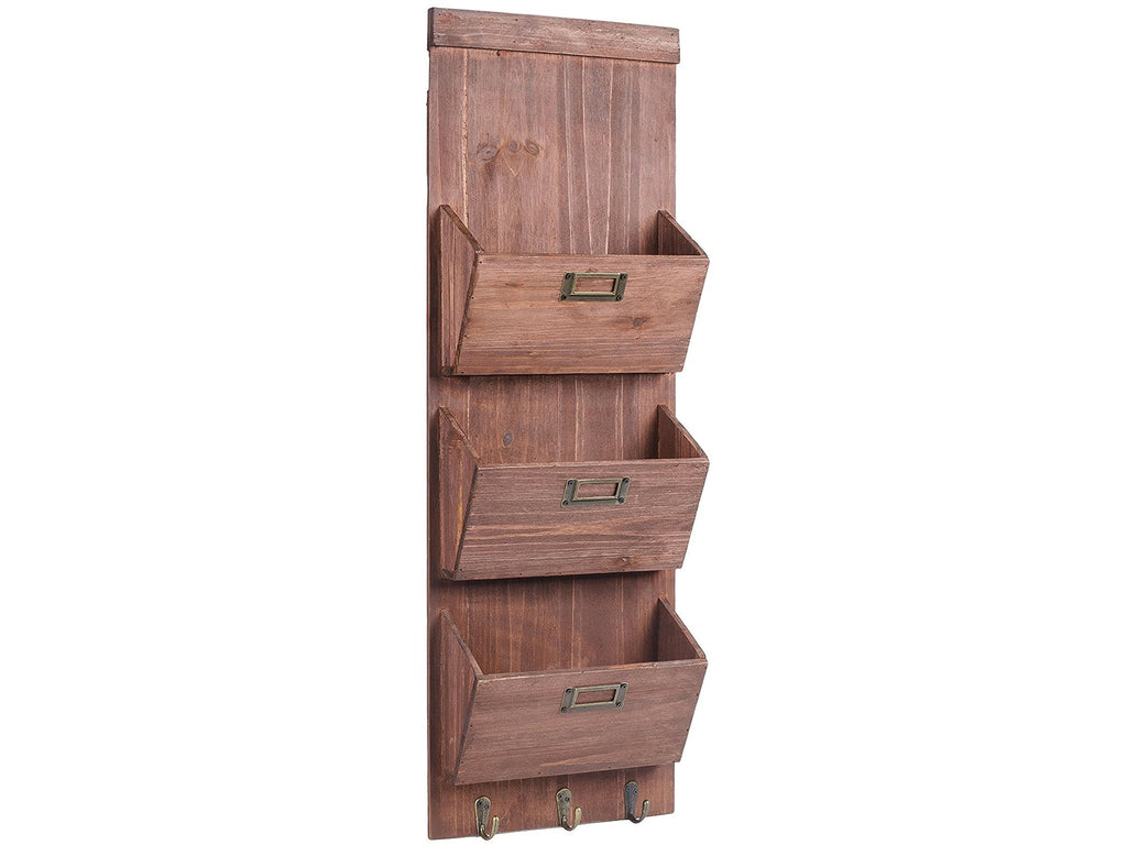 Rustic Wood Wall Storage and Mail Sorter with Key Rack