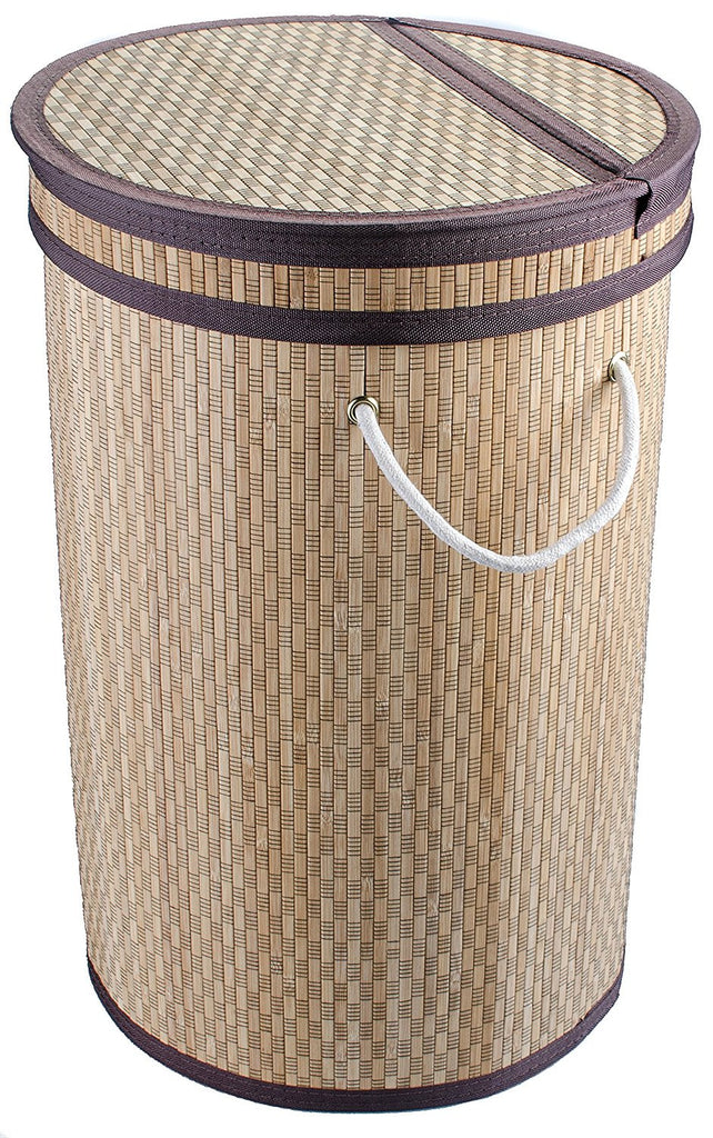 Clein Wood Round Laundry Hamper with Lid