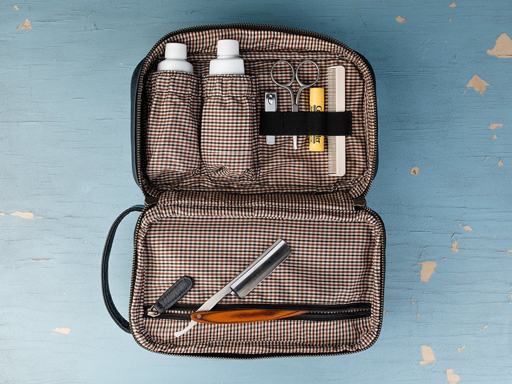 Classic Top Grain Leather Toiletry Bag and Dopp Kit with TSA Approved LokSak Waterproof Bag