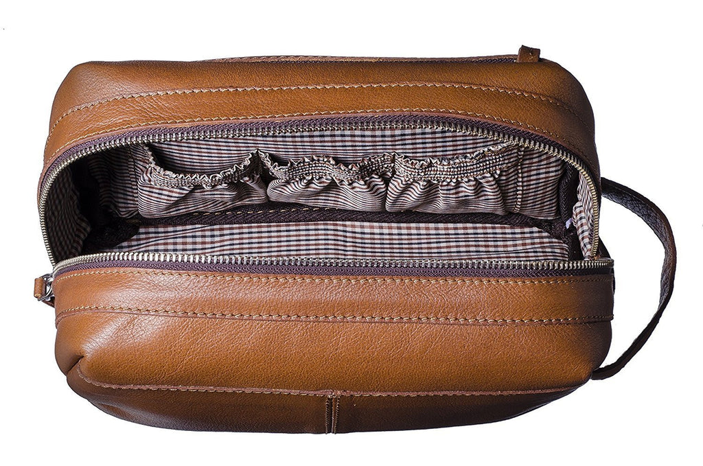 Premium Top Grain Leather Toiletry Bag and Dopp Kit with TSA Approved LokSak Waterproof Bag