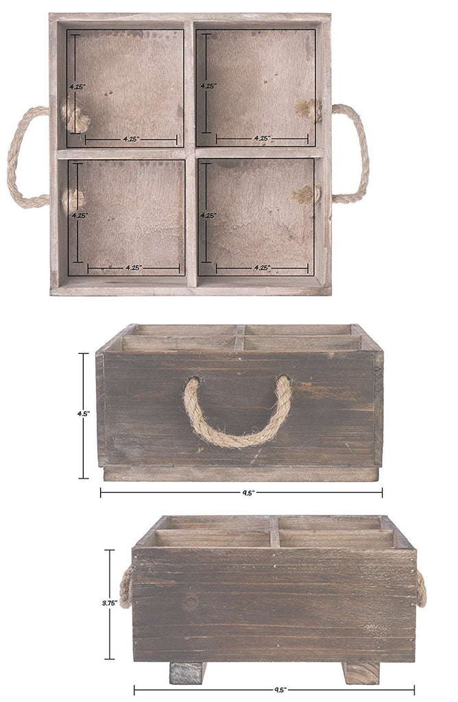 Rustic Wood Organizer Caddy with Rope Handles