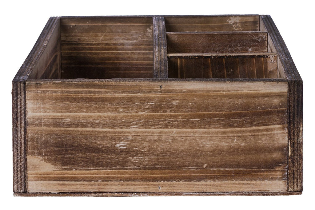 Rustic Wood Office Desk Organizer, Rectangular