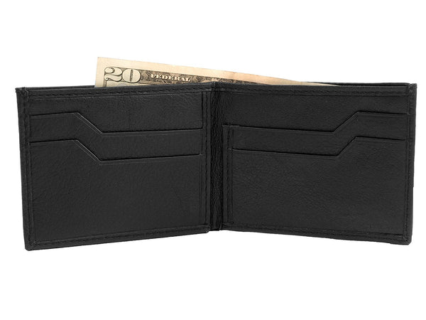 Slim Leather Credit Card Bifold Wallet with ChipSafe RFID Blocking Protection (Buffalo Leather