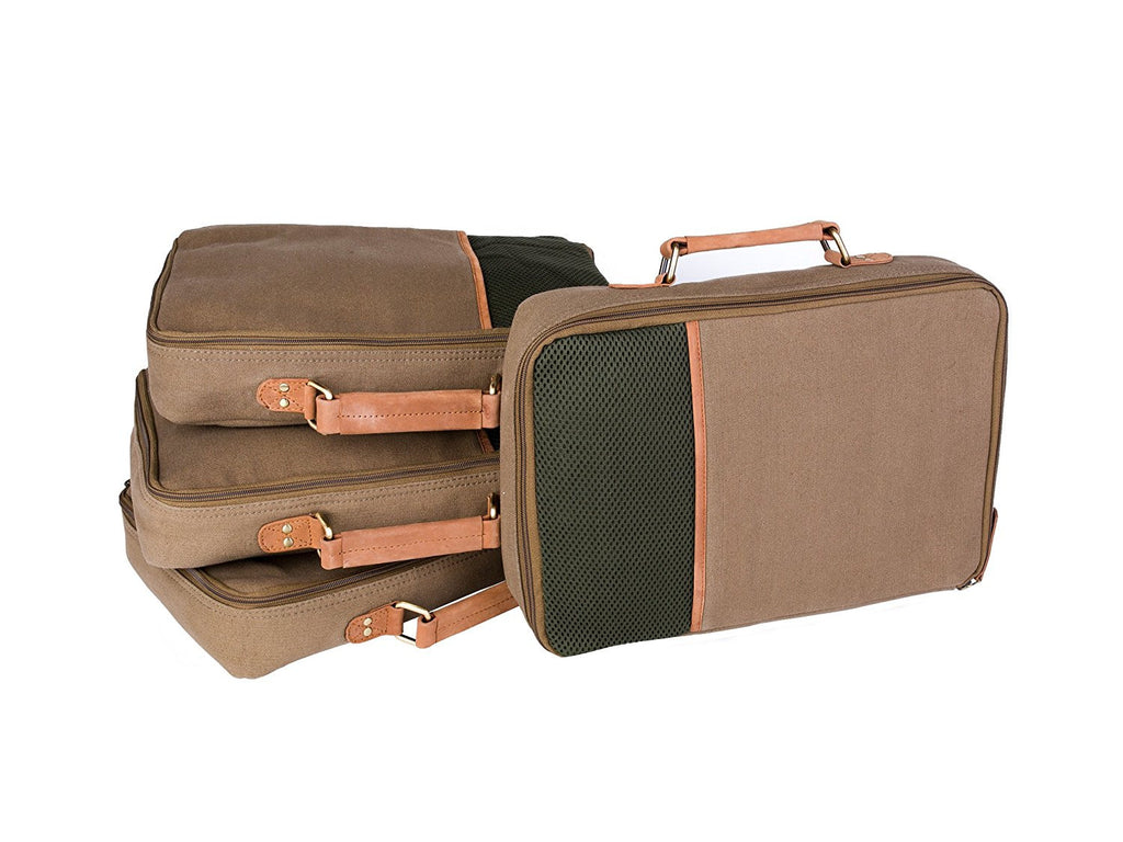 Canvas and Leather Packing Cubes, 4-Pack