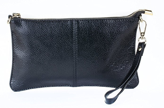 Women's Fashion Leather Wristlet, Crossbody Clutch Purse