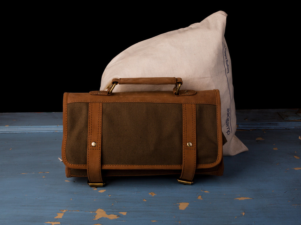 Canvas and Leather Hanging Toiletry Bag