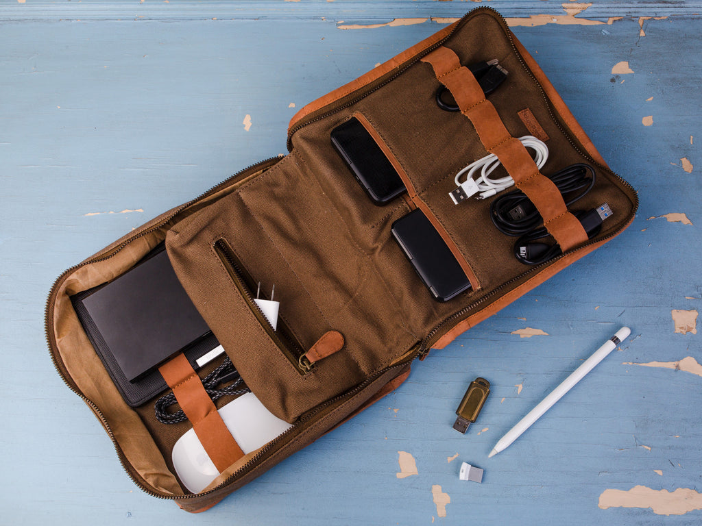 Canvas and Leather Electronics Case and Organizer