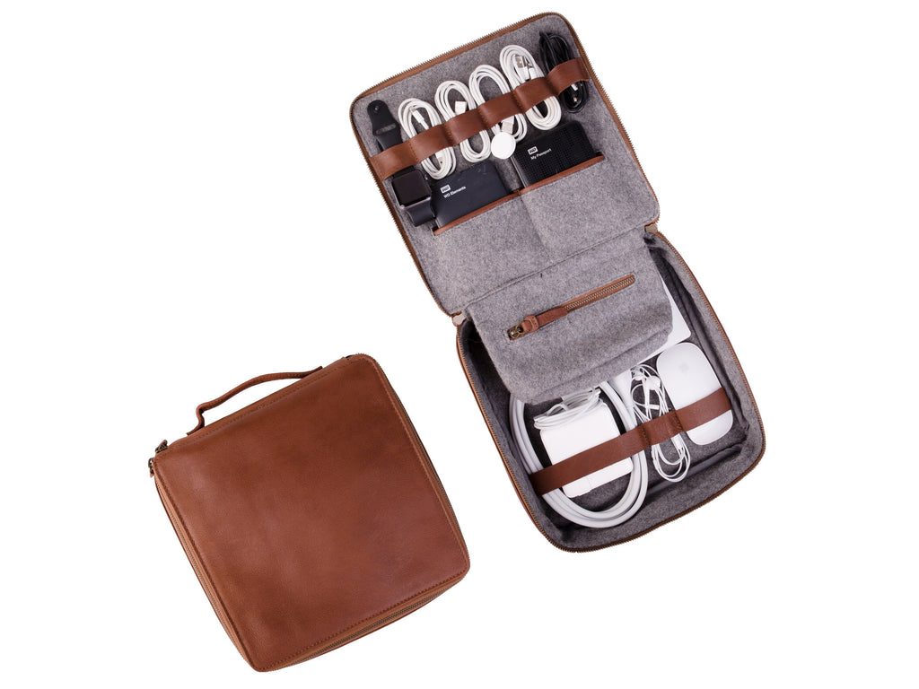 Leather Cable And Electronics Tech Organizer Small
