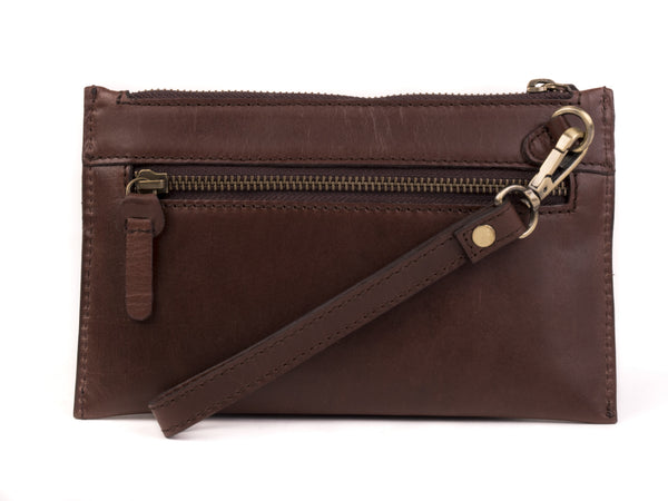 Leather Clutch Purse with Wristlet