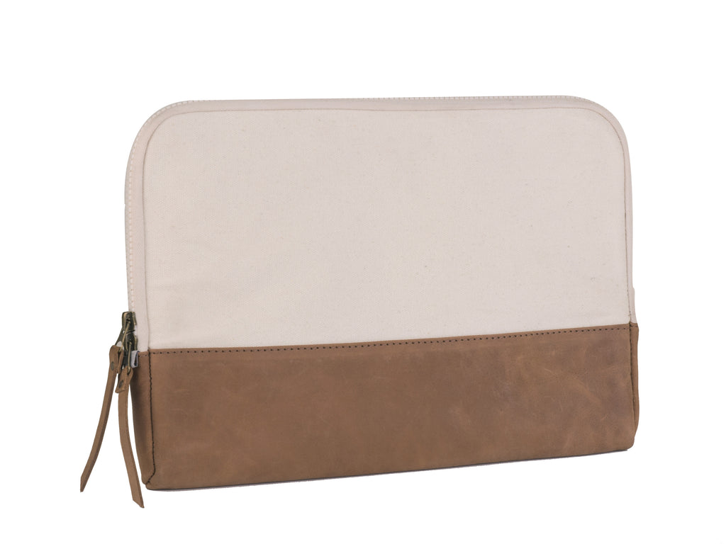 "Canvas and Leather Laptop Sleeve, 12"" Case"