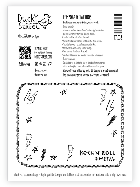 Rock'n'roll greeting card with temporary tattoos