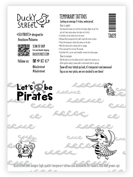 Let's be pirates temporary tattoo kids greeting card