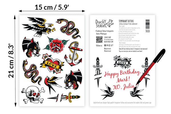 Traditional American temporary tattoos set