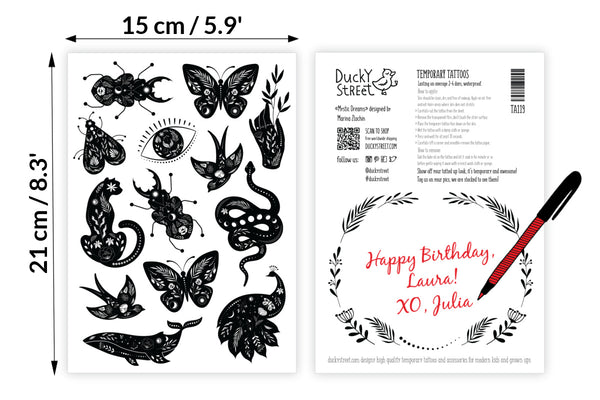 Black linocut style temporary tattoos set