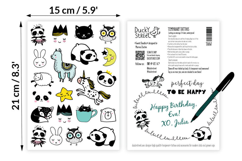 Doodles tattoo set