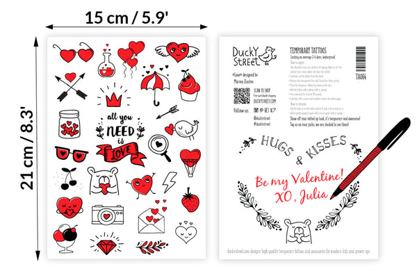 Doodle hearts temporary tattoos set