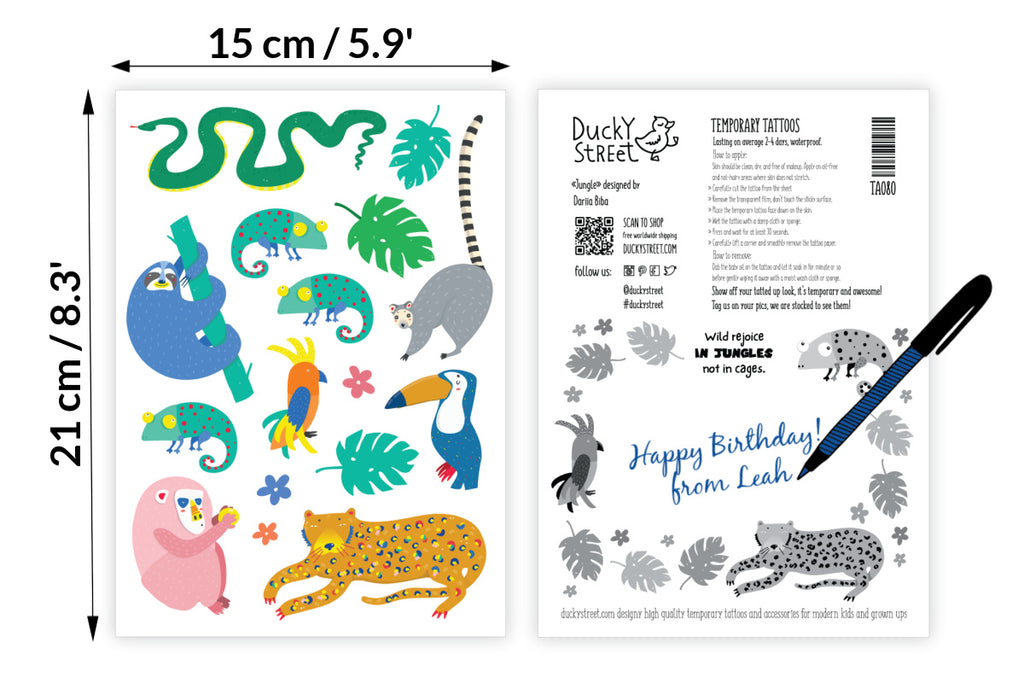 Jungle animals temporary tattoos