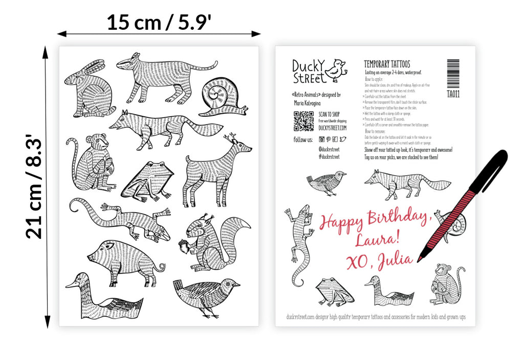 Monochrome animals temporary tattoos set