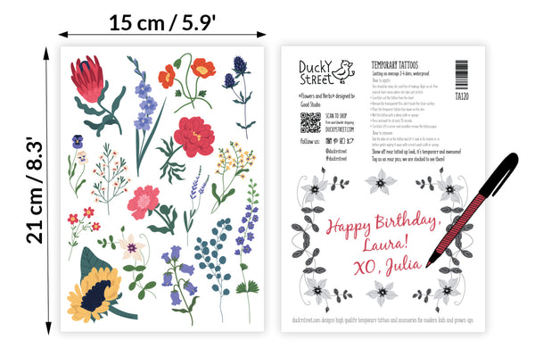 Wild flowers and herbs temporary tattoos set