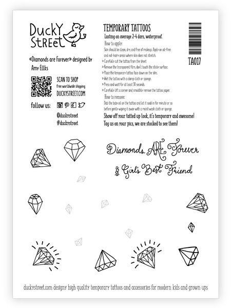 Diamonds are forever girls best friends tattoo greeting card