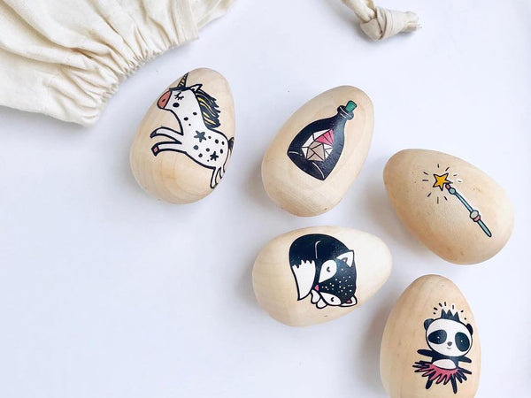 Easter eggs decorated with temporary tattoos