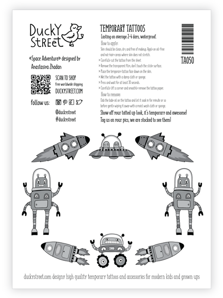 Space robots tattoo greeting card