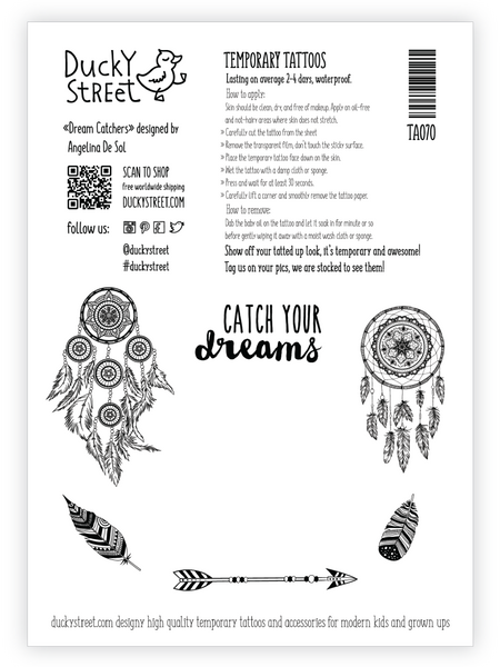 Bohemian Dream catchers tattoo greeting card