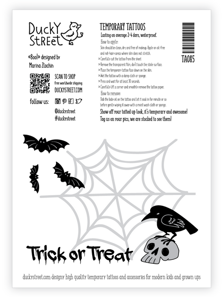 Trick or Treat temporary tattoo greeting card