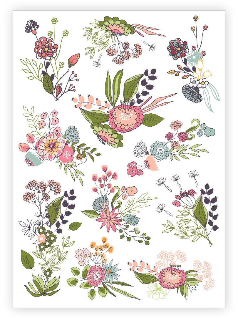 c304f4b816280 Temporary tattoos Gentle flowers. Set of 11 floral bouquets tattoos by  Ducky street