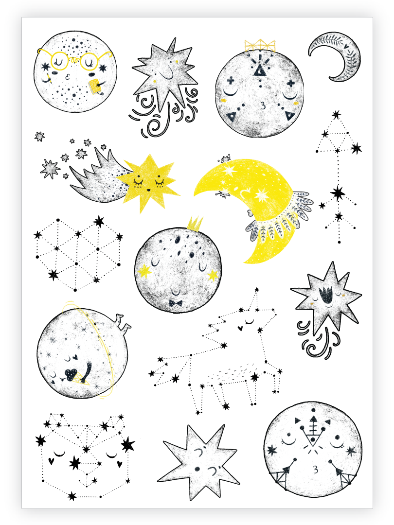 Moon temporary tattoos. Set of 15 galaxy kids tattoos by Ducky street