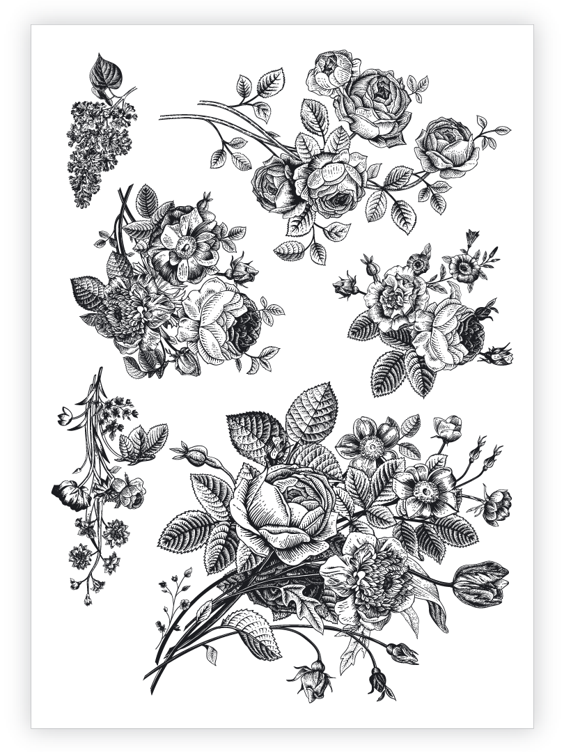 Vintage flowers high quality temporary tattoocs set of 6 retro floral black ink boquets by Ducky street.