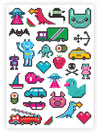 DUCKY STREET kids temporary Tattoo sheet 8 bit designed by Maria Kalyagina - 1