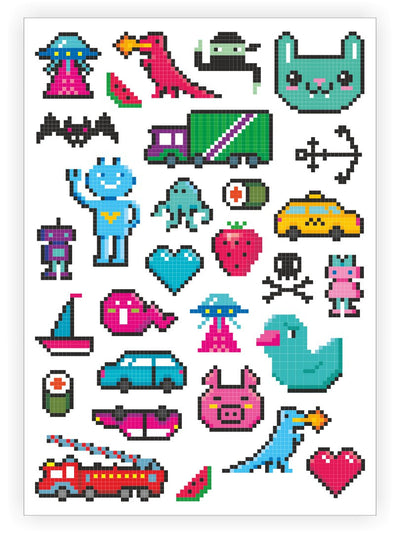 "Temporary tattoos ""8 bit"". Set of 29 pixelart retro video game inspired kids tattoos by Ducky street"